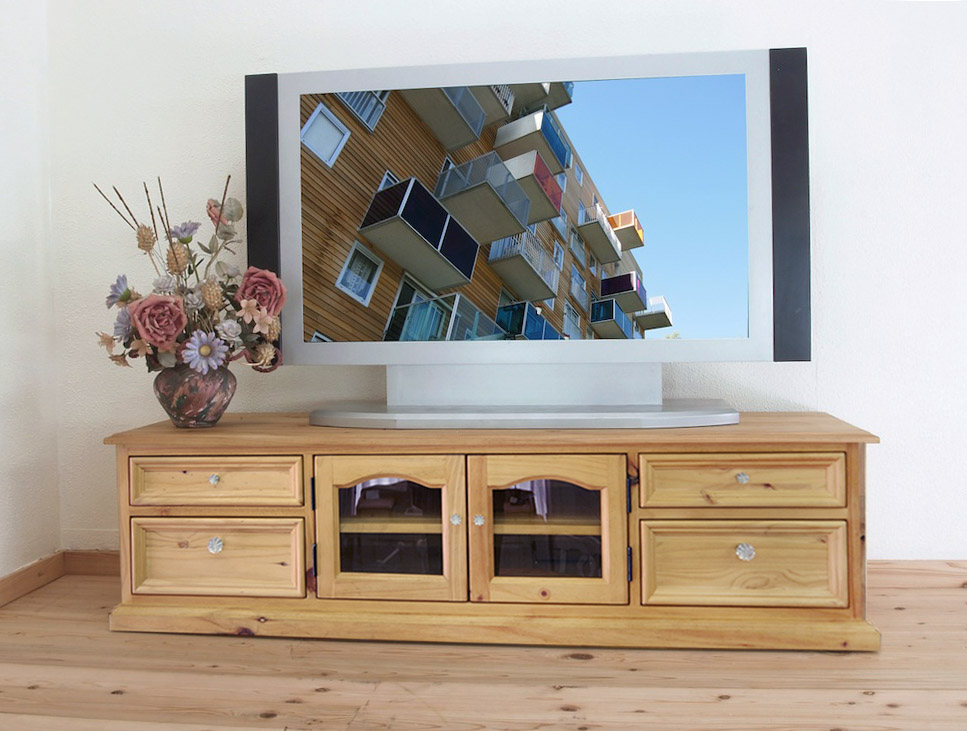 Country Tv Stand Furniture Pine Board Natural