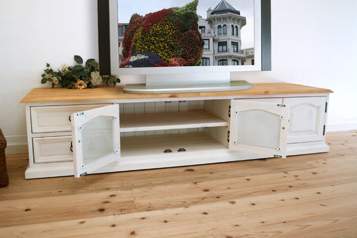 Width 180 cm 180 cm wide to pine, country pine furniture TV stand TV  sideboard, TV Unit white our pine TV stand / antique ring handles - Auc-banjo: Width 180 Cm 180 Cm Wide To Pine, Country Pine Furniture