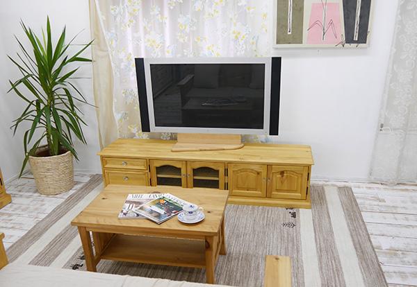 カントリーテレビボード 無垢木製 ローボード 1800mBJ クリスタル取手 ナチュラル カントリー家具 幅180cm 高さ40cm 安心安全の角丸加工可能
