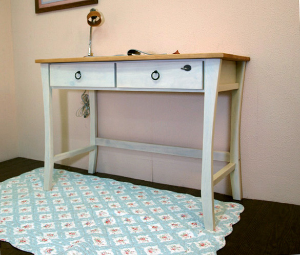 White country pine desk / French country style desk / white color country pine personal desk