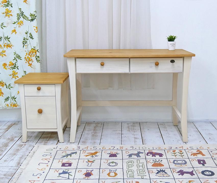 【白いカントリーパインデスク-バレンシアデスク・ファイルチェストセット・木製取っ手】フレンチカントリー家具、白色カントリーデスク、木製取っ手