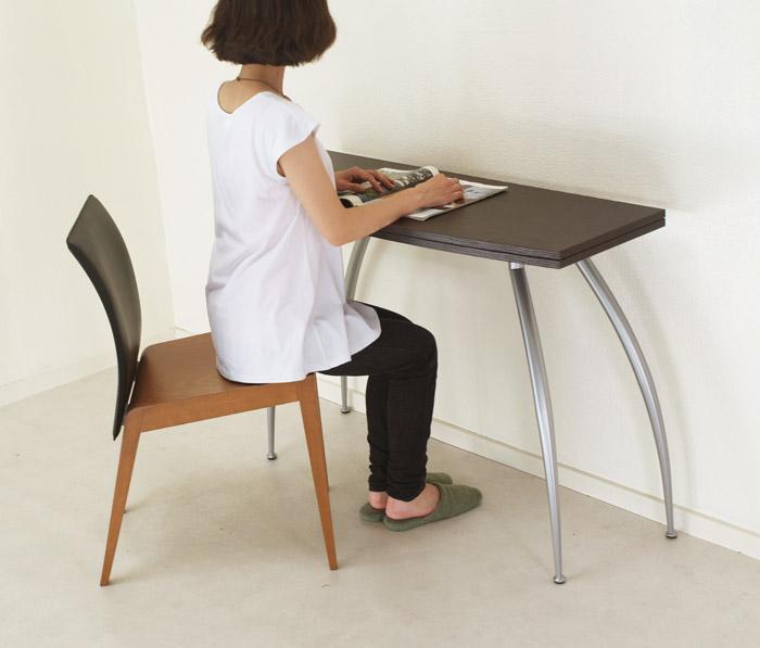【伸張式木製テーブルpocket wenge色(濃いこげ茶色)】イタリア製コンソールテーブル/前後伸張式テーブル