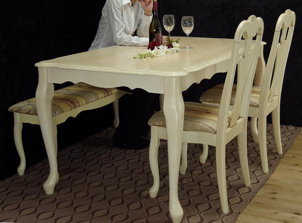 クイーンアン【クラッシックテーブル150cm幅 チェアとベンチセット アンティークホワイト色/張地:トラッド】猫脚テーブル4点セット、店舗用商品陳列用テーブル、テーブルとチェア2脚ベンチ1台セット