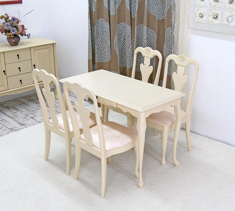 猫脚 テーブルセット クラシック調 猫脚 ダイニングセット 120cm幅 チェアとベンチセット/ロゼ 汚れに強い PVCレザー座面を採用 猫脚テーブル5点セット、店舗用商品陳列用テーブル、テーブルとチェア4脚