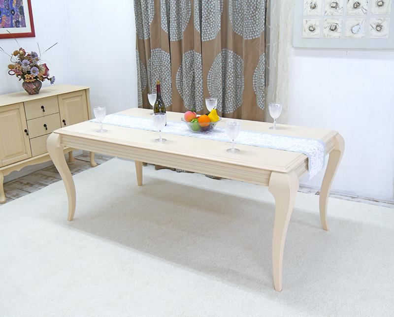 猫脚ダイニングテーブル クラシック調 ロココ調 アンティーク調 180cm幅ダイニングテーブル クイーンアン調 テーブル単品、店舗用商品陳列用テーブル、大型テーブル