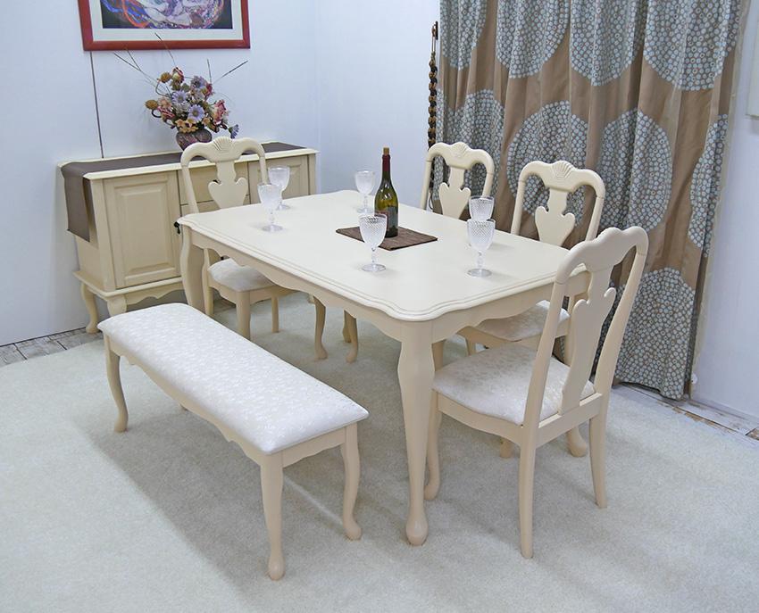 クラシック調 猫脚フレンチ家具ダイニングテーブルセットPVCレザー座面 クラシックテーブル 150cm幅 チェア4脚 ベンチ1台セット テーブル6点セット 猫脚テーブルと猫脚ベンチ ロゼ