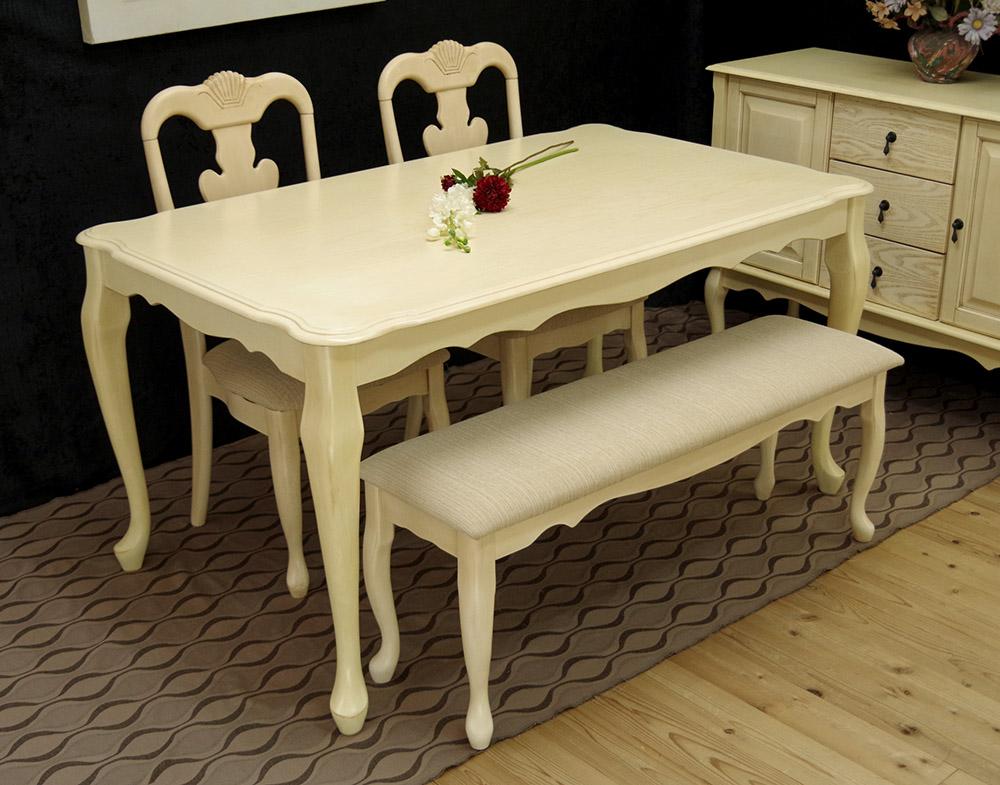 猫脚ダイニングセット クラシック調 クイーンアン テーブル150cm幅 チェアとベンチセット アンティークホワイト色 猫脚テーブル4点セット 店舗用商品陳列用テーブル、テーブルとチェア2脚ベンチ1台セット
