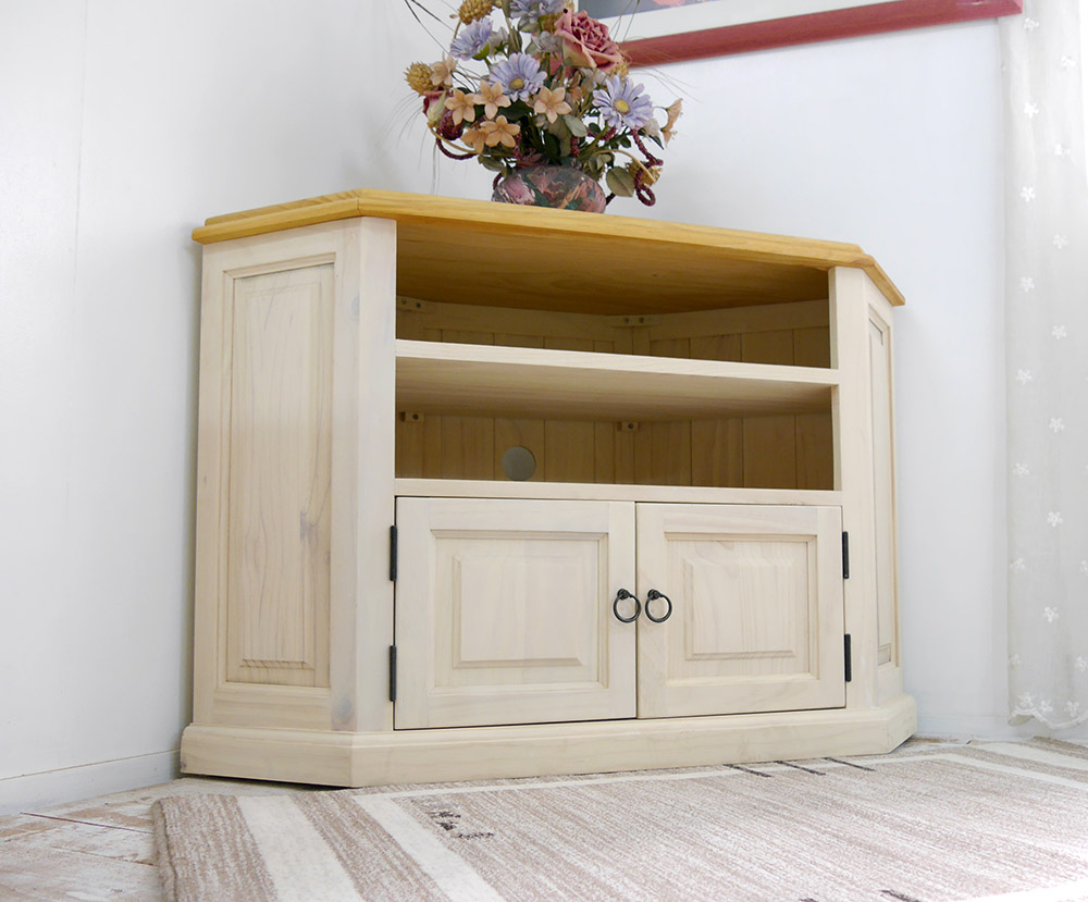 White Country Tv Stand French Furniture Pine Board Corner Roximately 70cm In Height