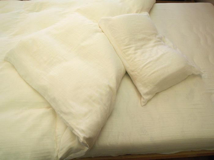 【快眠寝具/ オーガニックコットン極上二重織りガーゼ、シングル3点セット】シングルサイズ/無漂白、無着色/ガーゼ素材
