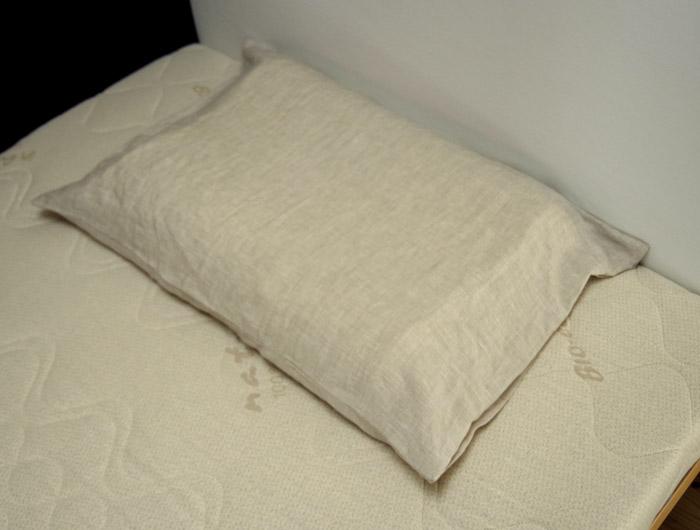 安眠枕【快眠枕-ラテックス枕厚さ8-6cm、専用カバープラス麻カバー(ベージュ)付】やわらかい支持枕、快適睡眠枕、やわらか枕、専用枕カバー付きセット