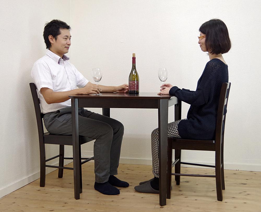 【木製ダイニングテーブル75cm角、チェア2脚セット、カプチーノ(こげ茶)色】ダイニングテーブルセット、木製食卓テーブル3点セット