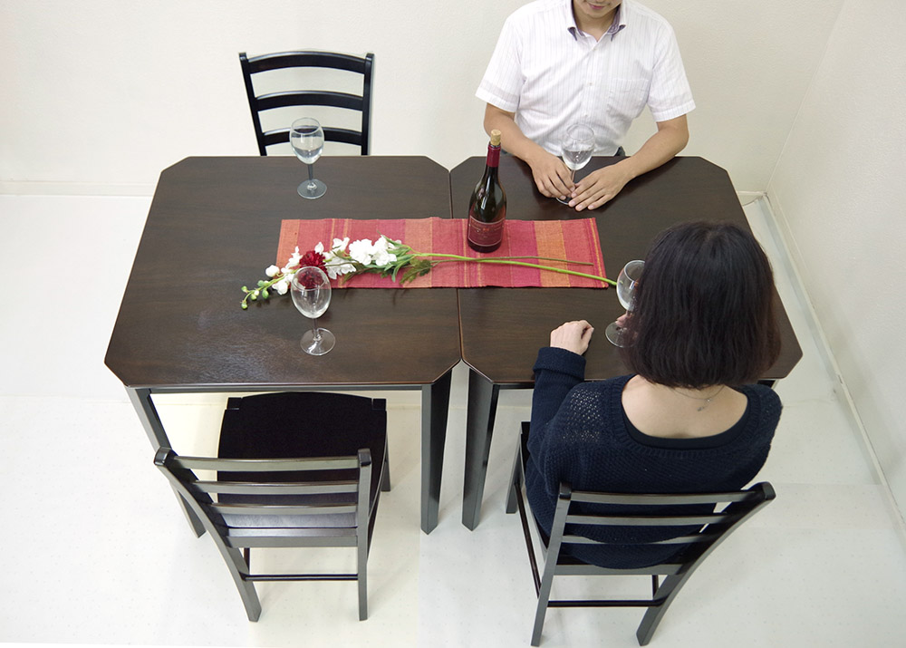 【木製ダイニングテーブル75cm角2台、チェア4脚セット/カプチーノ(こげ茶色)】ダイニングテーブルセット、木製食卓テーブル6点セット