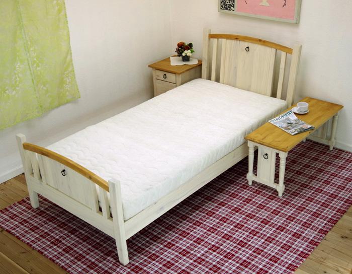 【フレンチカントリー/ミルキーバレンシアラテックスマット11cm厚ベッドセット】シングルサイズ、白いベッド、ミルキーホワイト色