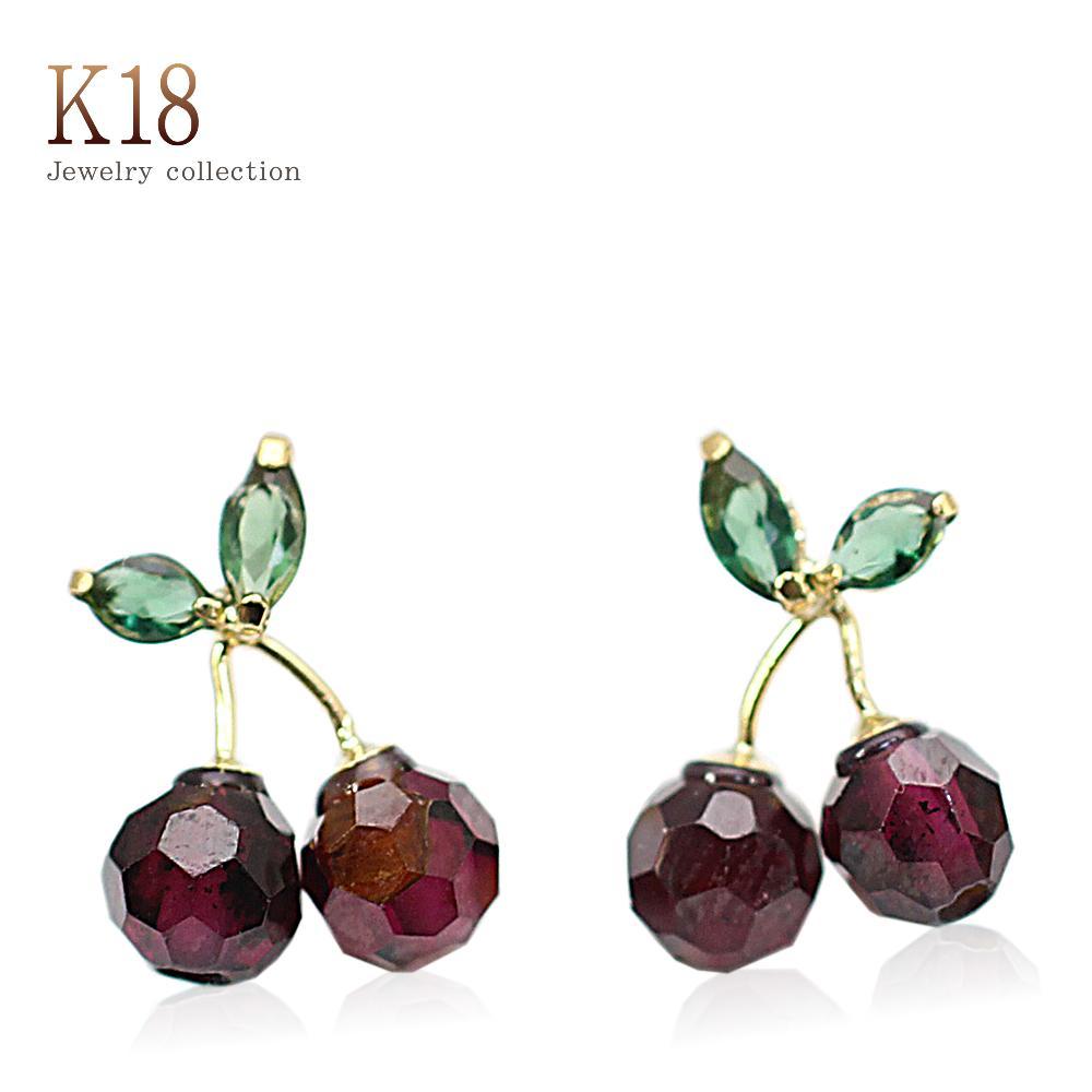 Natural Garnet Earrings 18 K Gold Yellow Cherry K18 Jewelry Green Quartz Rice Women S Accessories Lady January Birth Stone