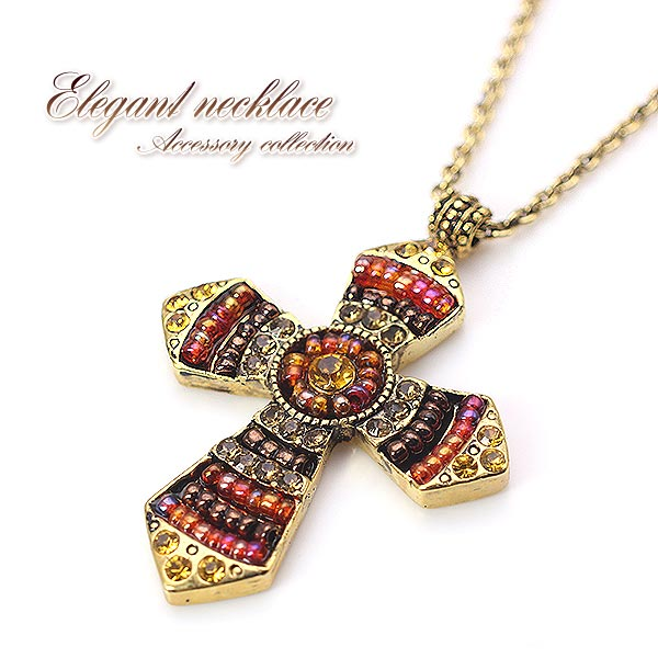 Accessoryshopbarzaz rakuten global market glitter cross necklace glitter cross necklace ethnic gold beaded cross flower or gift gift gift birthday day rosary pendant accessories shine shiny cool cool necklace unisex short aloadofball Choice Image
