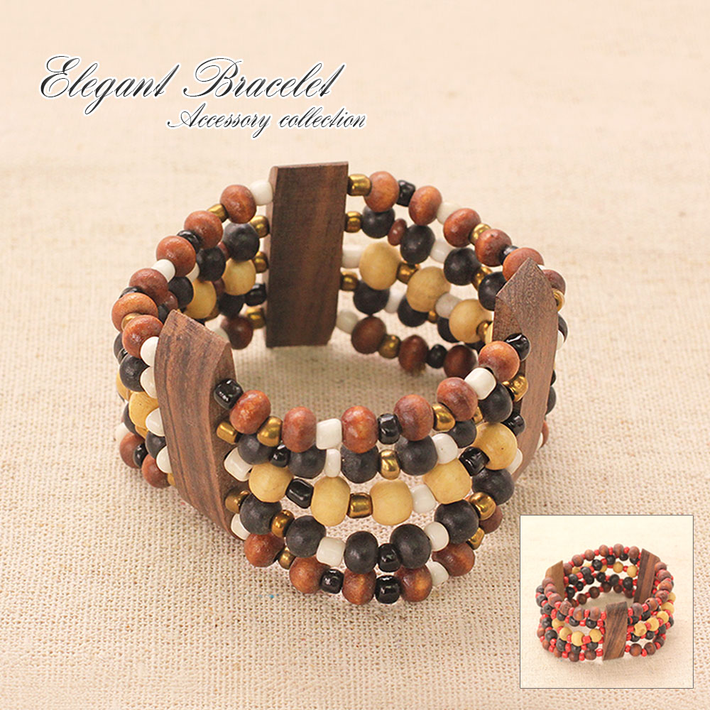 Three Orted Beads X Wood Bracelets Ethnic Breath Accessories Rubber Bangle Womens Mens Uni Pair Turquoise Green Black Orange Other