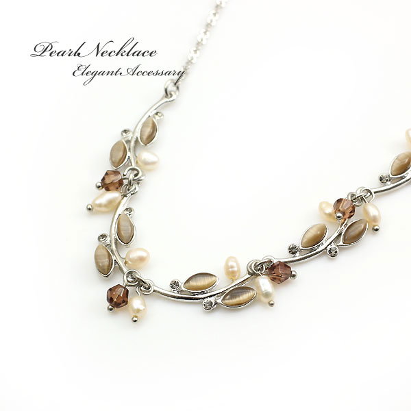 Freshwater Pearl cats eye necklace elegant Pearl silver Choker brown beige  party parties wedding Womens accessories jewelry presents gift day shipping  ... 696cfc6a6d
