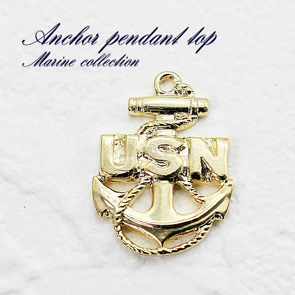 Accessoryshopbarzaz rakuten global market small us navy usn navy usn anchor marine parts pendant metal charm accessories gold pendant necklace top sea gold gold plating gold golden hand made craft unisex unisex aloadofball Gallery