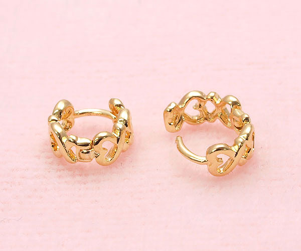 ebfa901346427 Yu heart earring simple gold silver packets cute accessories earrings cute  hole perforated heart cute type small hoop girl gift gift gift heart unisex  ...