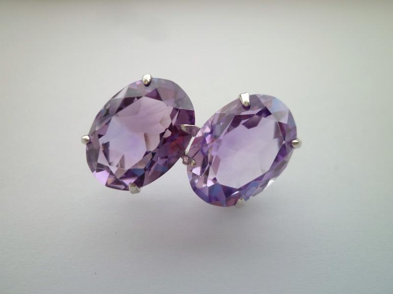 天然石帯留め 紫水晶(アメジスト)2個付 シルバー 【送料無料】