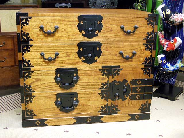 時代箪笥 和箪笥 総桐 拭き漆加工(摺漆) サイドボード 越前