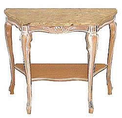 アンティーク風コンソール 大理石 ウォッシュ仕上げ ホワイト イタリア製 ネコ脚 ロココ調家具