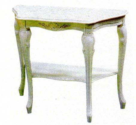 アンティーク風コンソール 大理石 ホワイト イタリア製 ネコ脚 ロココ調家具