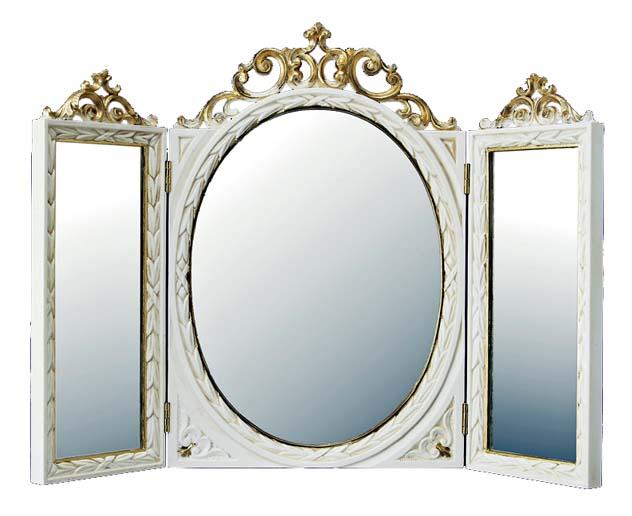 3面鏡 デスクミラー 置き鏡 イタリア製 クラシックスタイル