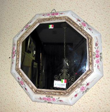 イタリア製 オクトミラー 八角形鏡 アンティーク調ウォールミラー 花柄  【送料無料】