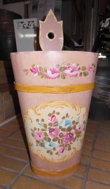 カントリー風傘立て アンブレララック イタリア製 ピンク 手描き花柄 アンティーク仕上げ【送料無料】