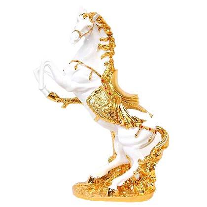 オブジェ 置物 馬 HORSE ホワイト&ゴールド