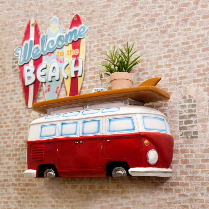 【送料無料】サーフワゴン型 カーシェルフ 壁掛け 自立置きも可能 インテリア アメリカン雑貨 アメリカ雑貨 インテリア ガレージ 店舗 雑貨