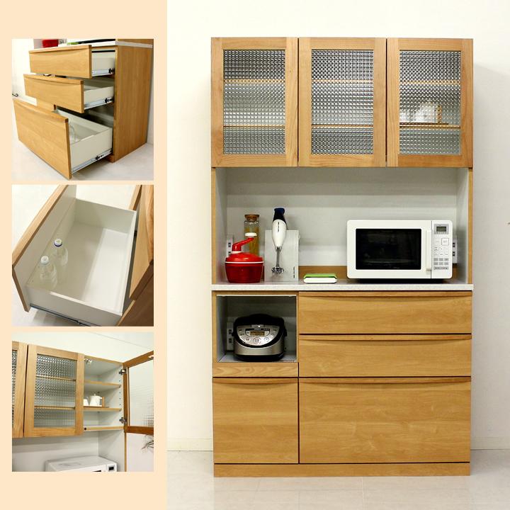 食器棚 カップボード オープンボード ダイニングボード キッチン収納 レンジ台 アルダー材 国産 北欧スタイル 人工大理石カウンター