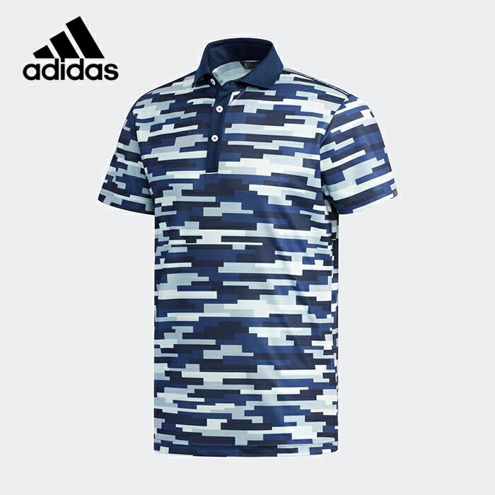 【土日もあす楽】 メンズ ゴルフ adidas アディダス ADICROSS カモプリント 半袖ワイドカラーシャツ 襟付き 柄 19SS 半袖シャツ FVE54 半袖ポロ