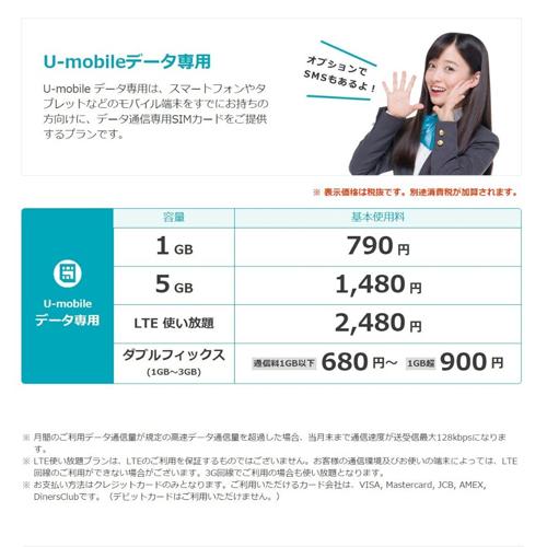 SIM 카드 (사무 수수료) U-mobile 데이터 SIM 카드 (카드 추후 발송) 4G LTE Docomo sim 괜찮고도 680 엔에서 선택할 계획 많은 데이터 무제한도