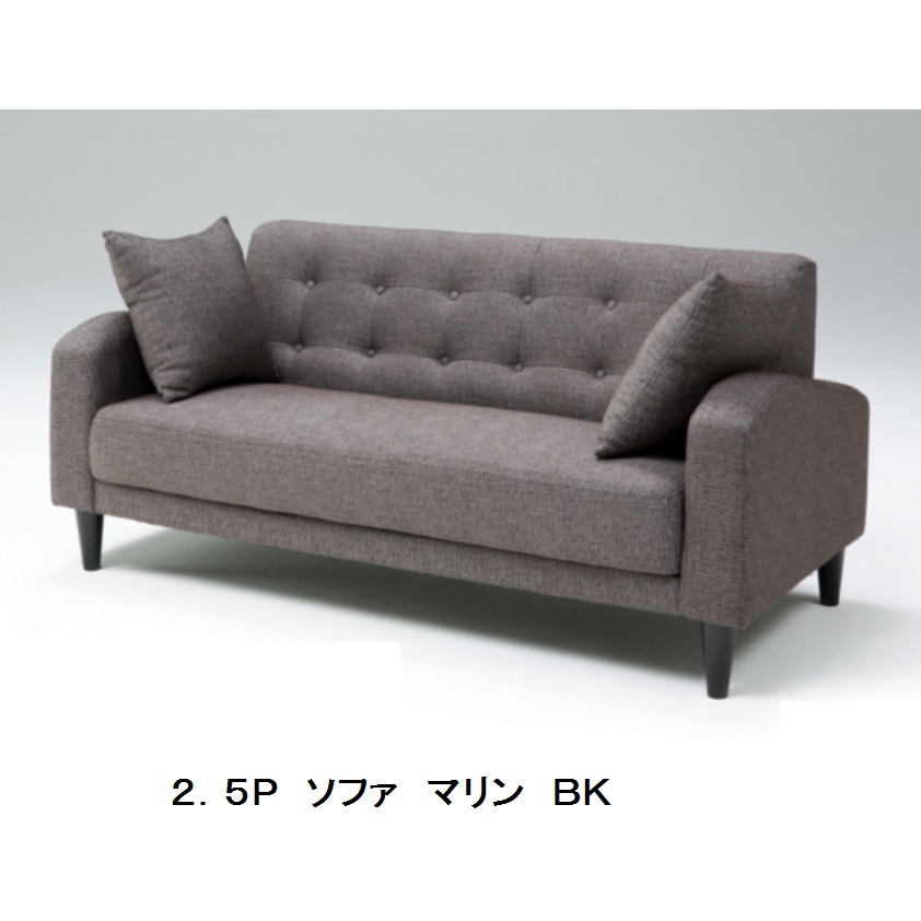 ソファ 2.5人掛け マリンファブリックSバネ・ウレタン・ウェービング2色対応(BK・BE)要在庫確認