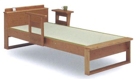 和室・洋室を問わない日本製 ダブル畳ベッド アシスト 宮付 パイン無垢材(手すり別売)