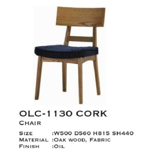 ミキモク製 高級ダイニングチェアOLC-1130 CORK材質:オーク集成材無垢オイル塗装座面:ファブリック(3色対応)グレー/ブルー/ベージュカバーリングタイプ(カバーの単品売りOK)要在庫確認。