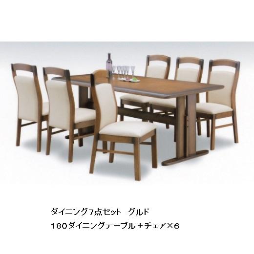 ダイニング7点セット グルド180テーブル+チェア×6材質:ラバーウッド材カラー:ブラウン色チェア:PVC張りアンティーク塗装要在庫確認