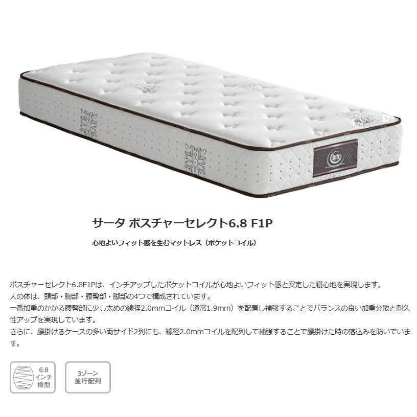 セミダブルマットレス Serta サータポスチャーセレクト6.8F1P6.8インチポケットコイルで安定した寝心地。3ゾーンポケットコイル並行配列送料無料(沖縄・北海道・離島は除く)
