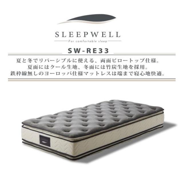 高級ポケットコイル シングルマット SLEEPWELL スリープウェルSW-RE33 コイル数324個・マット厚33cm夏と冬でリバーシブルに使える両面ピロートップ仕様送料無料(玄関前まで)北海道・沖縄・離島は除く要在庫確認