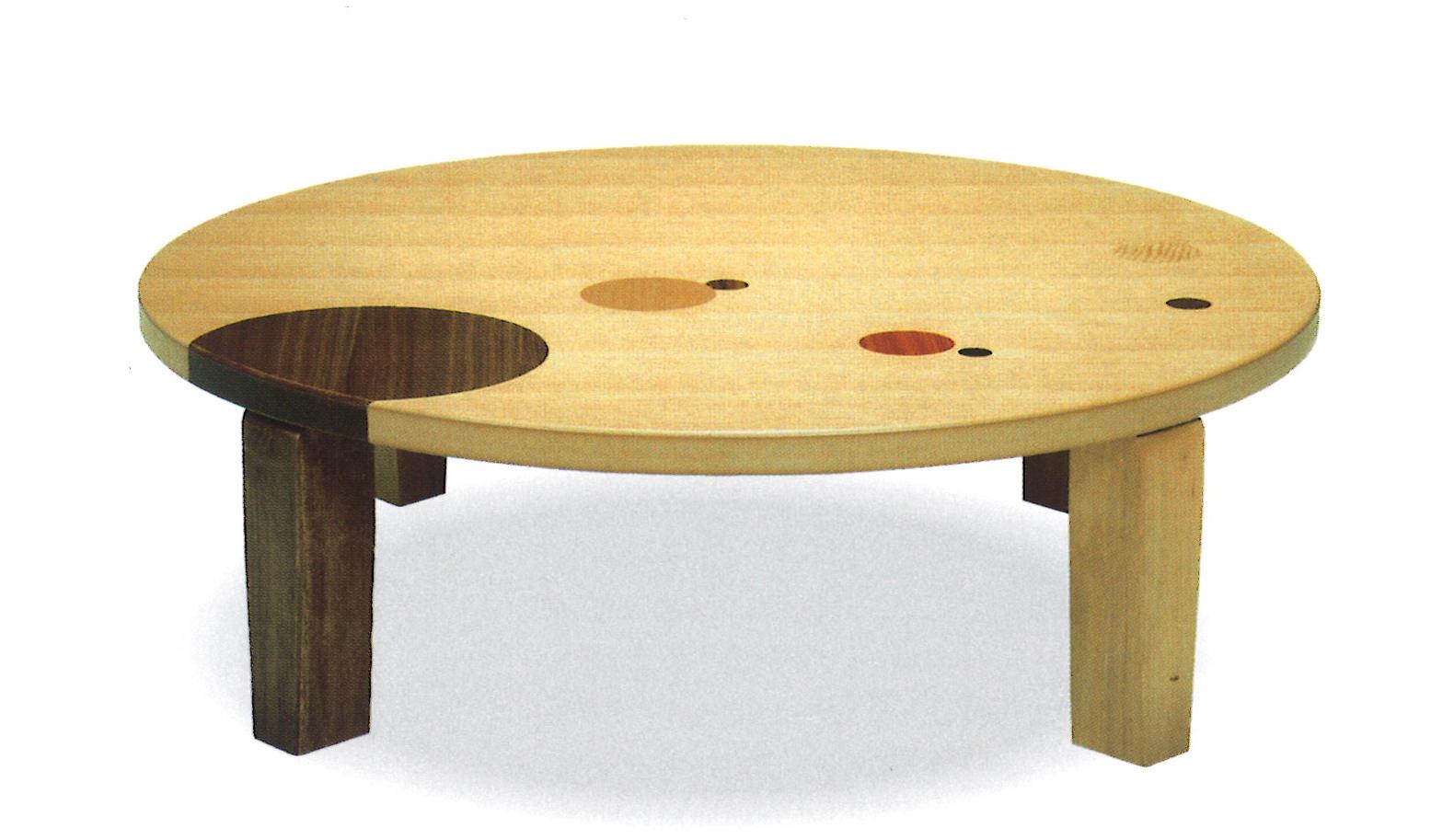 創作座卓 90丸 アース ナラ象嵌入り 折れ脚かわいい水玉模様入りつや消し仕上げ送料無料(沖縄、北海道、離島は除く)代金引換不可商品