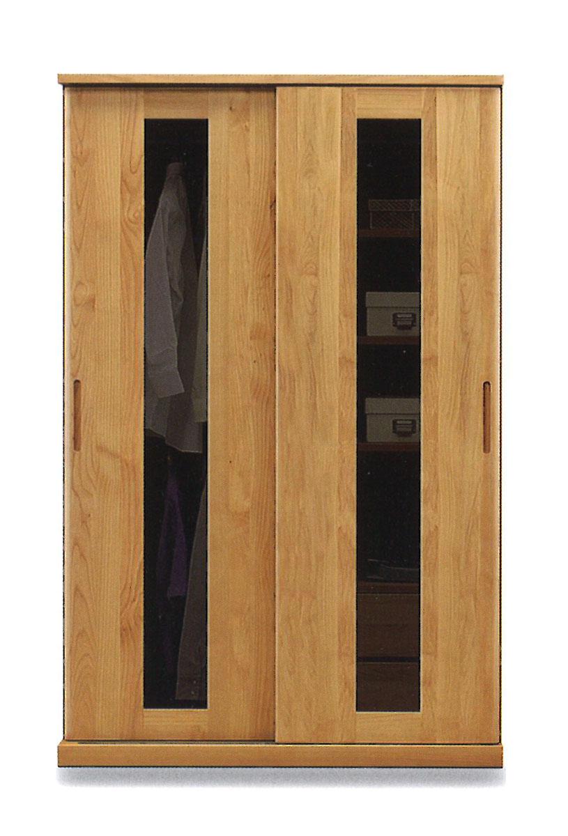 120スライドワードロープ ハート アルダー材無垢扉をミラー戸、板戸、ガラス戸から選べます。標準仕様は左ガラス戸、右ガラス戸です。標準仕様以外の扉は受注生産。(納期21日程)。開梱設置送料無料、北海道・沖縄・離島は除く