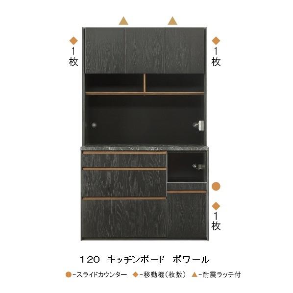 シギヤマ家具製 120キッチンボード ポワール表面材:オーク突板、ウレタン塗装(BK)天板:ハイグロス(石目柄)UV塗装引出しソフトクロージングレール付開梱設置送料無料(北海道・沖縄・離島は除く)要在庫確認。