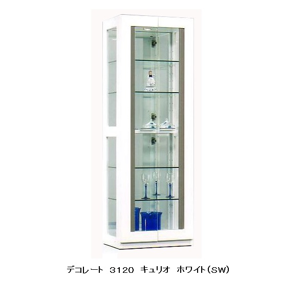 モリタインテリア製 国産品 キュリオ60 デコレート3120ホワイト(SW):MDF材・UV塗装 ハロゲンライト付、8mmガラス使用追加カラス棚有り開梱設置無料(北海道・沖縄・離島は除きます)