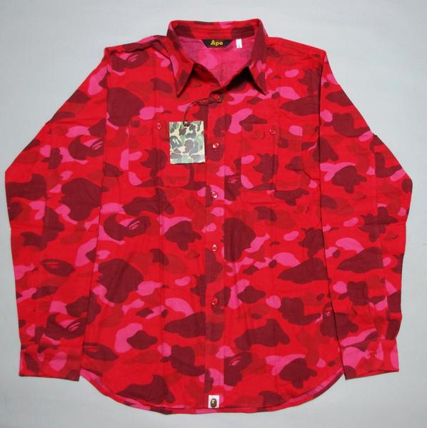 a bathing ape red camo shirt