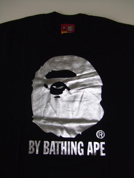 Bid Land Bape Ape Monkey Foil Printed T Black Silver Rakuten