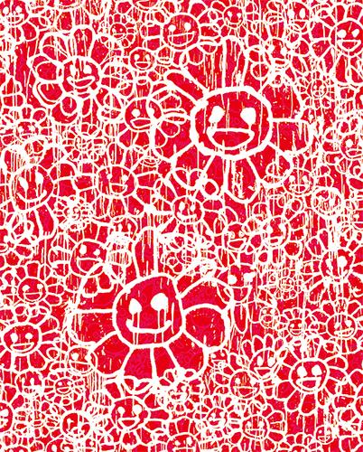 MURAKAMI × MADSAKI(村上隆 マッドサキ)コラボ限定版画「マサキフラワー版画 赤(仮)」 カイカイキキ kaikaikiki TAKASHI MURAKAMI FLOUR