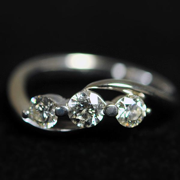 ダイヤ リング 指輪 K18 WG ホワイトゴールド 3g ダイヤモンド サイズ8号 レディース アクセサリー 【中古】美品 本物 正規品