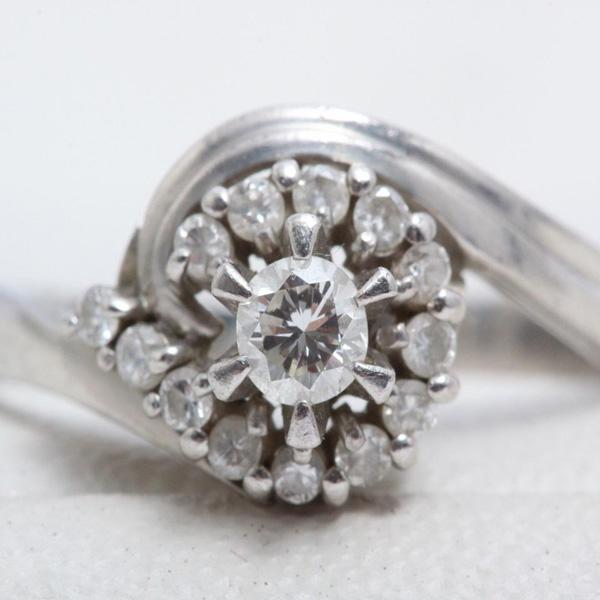 ダイヤ リング 指輪 ダイヤモンド 0.20ct プラチナ pt850 総重量4.7g リングサイズ 14.5号 レディース ジュエリー 宝石 アクセサリー 【中古】美品 本物 正規品